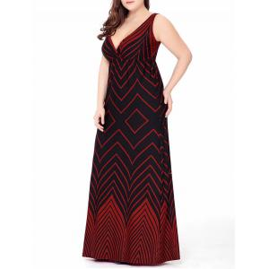 Plus Size Zigzag Long Plunge Formal  Dress