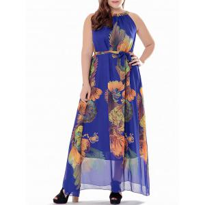 Plus Size Maxi Long Printed Chiffon Swing Dress