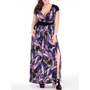 Plus Size Butterfly Print Slit Short Sleeve Empire Waist Maxi Dress