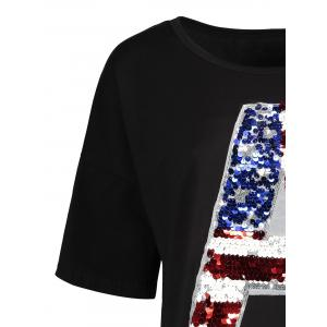 Sequin Plus Size American Flag Top -
