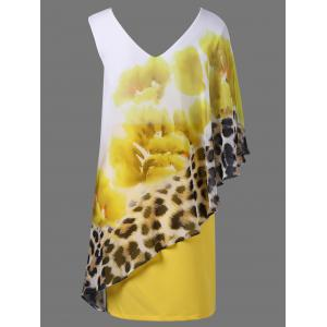 Floral and Leopard Print V Neck Capelet Overlay Party Dress - YELLOW XL