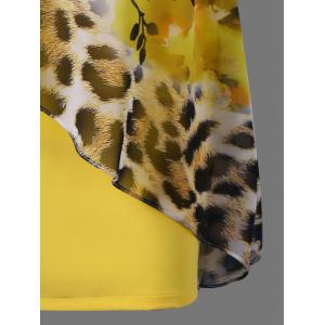 Floral and Leopard Print V Neck Capelet Overlay Party Dress - YELLOW 2XL