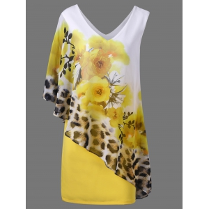 Floral and Leopard Print V Neck Capelet Overlay Party Dress