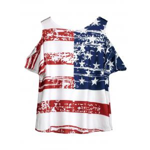 Cold Shoulder Distressed American Flag T-shirt -
