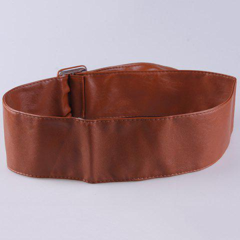 Shop ArtificialLeather Adjustable Wide Waist Belt - CHOCOLATE  Mobile