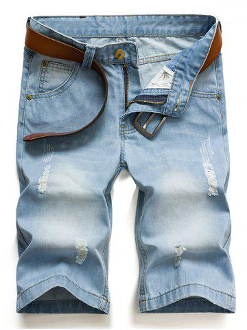 Outfit Hot Sale Ripped Loose Denim Shorts - 32 BLUE Mobile
