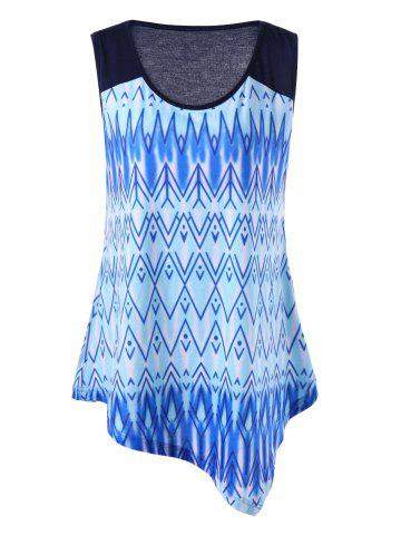 Best Plus Size Ombre Zigzag Asymmetric Tank Top - 2XL BLUE Mobile