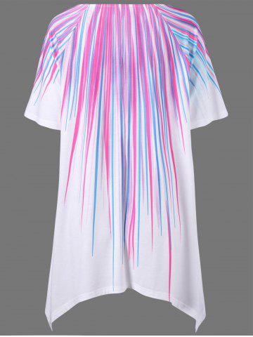 Shop Plus Size Striped Painting Asymmetric T-Shirt - XL WHITE Mobile