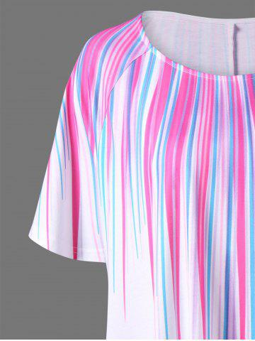 Outfit Plus Size Striped Painting Asymmetric T-Shirt - XL WHITE Mobile