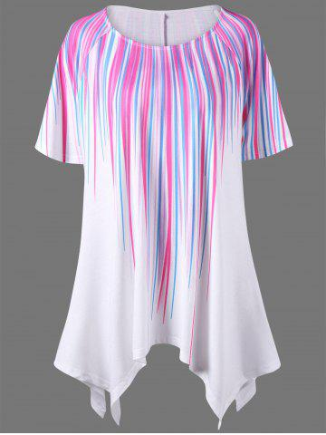 Outfit Plus Size Striped Painting Asymmetric T-Shirt - 3XL WHITE Mobile