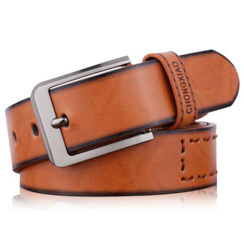 Shop Hot Stamped Artificial Leather Letter Belt - BROWN  Mobile