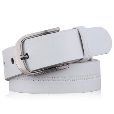 Shops Embroidered Fake Leather Pin Buckle Belt WHITE