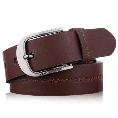 New Embroidered Fake Leather Pin Buckle Belt - COFFEE  Mobile