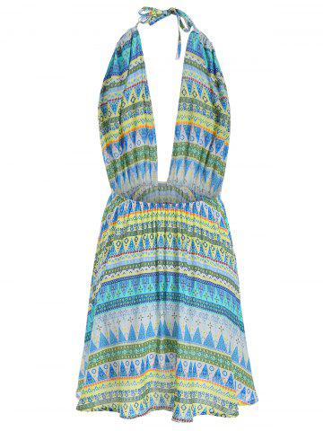 Latest Tribal Print Backless Halter Casual Mini Dress - S COLORMIX Mobile