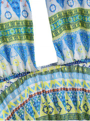 Fancy Tribal Print Backless Halter Casual Mini Dress - S COLORMIX Mobile