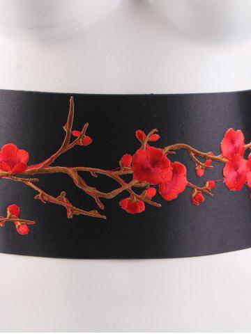 Buy Banded Flowers Branch Embroidered Chinoiserie Corset Belt - BRIGHT RED  Mobile