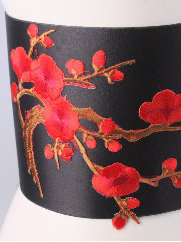 Hot Banded Flowers Branch Embroidered Chinoiserie Corset Belt - BRIGHT RED  Mobile