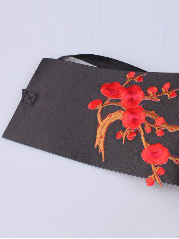 Cheap Banded Flowers Branch Embroidered Chinoiserie Corset Belt - BRIGHT RED  Mobile