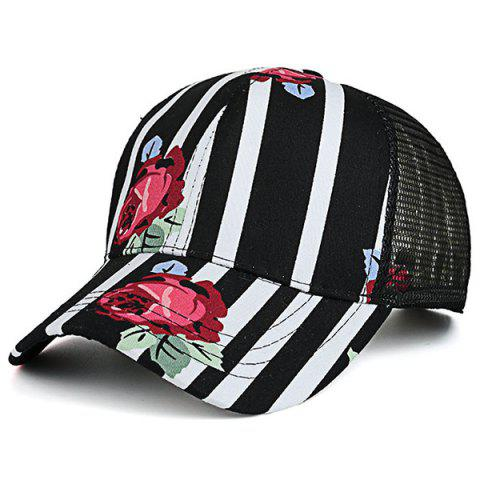 Chic Striped Mesh Splicing Floral Trucker Hat