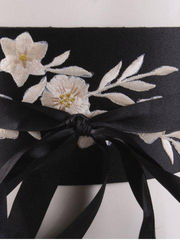 Chic Chinoiserie Banded Retro Blossom Embroidered Corset Belt - OFF-WHITE  Mobile
