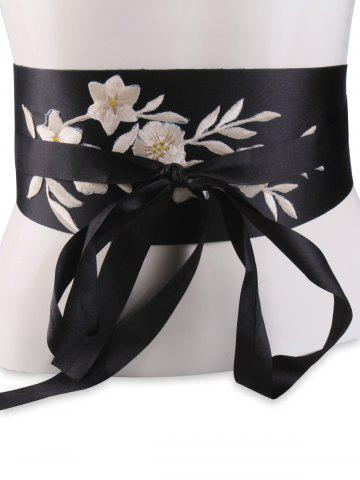 Fashion Chinoiserie Banded Retro Blossom Embroidered Corset Belt - OFF-WHITE  Mobile