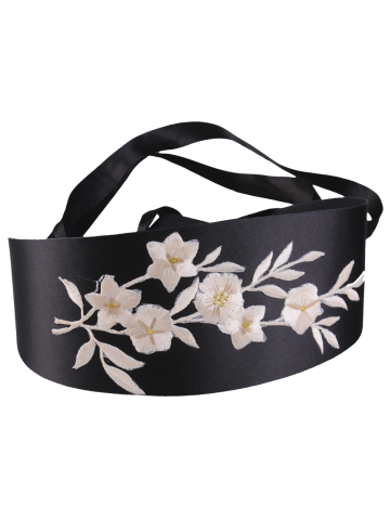 Hot Chinoiserie Banded Retro Blossom Embroidered Corset Belt