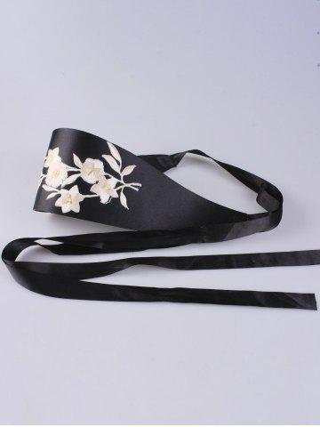 Cheap Chinoiserie Banded Retro Blossom Embroidered Corset Belt - OFF-WHITE  Mobile