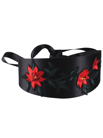 Cheap Chinoiserie Banded Retro Blossom Embroidered Corset Belt - RED  Mobile