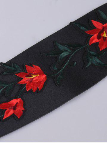 Shop Chinoiserie Banded Retro Blossom Embroidered Corset Belt - RED  Mobile
