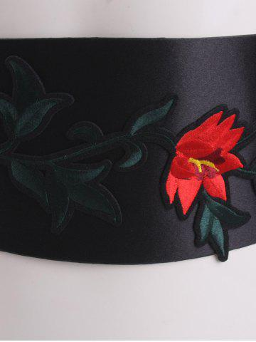 Chic Chinoiserie Banded Retro Blossom Embroidered Corset Belt - RED  Mobile