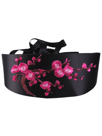 Cheap Chinoiserie Banded Retro Blossom Embroidered Corset Belt