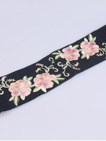Shop Chinoiserie Flowers Embroidered Fabric Corset Belt - BLACK  Mobile