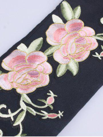 Shops Chinoiserie Flowers Embroidered Fabric Corset Belt - BLACK  Mobile