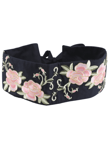Chic Chinoiserie Flowers Embroidered Fabric Corset Belt - BLACK  Mobile