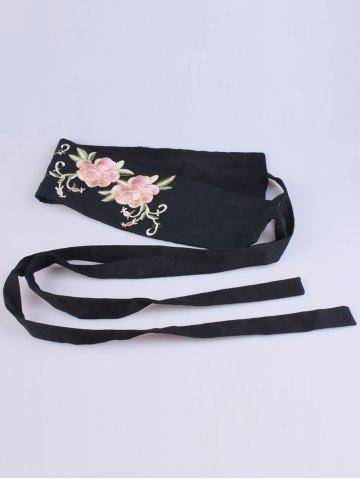 Discount Chinoiserie Flowers Embroidered Fabric Corset Belt - BLACK  Mobile