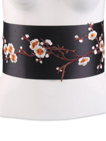 Chic Banded Flowers Branch Embroidered Chinoiserie Corset Belt