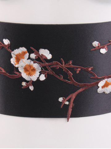 Unique Banded Flowers Branch Embroidered Chinoiserie Corset Belt - ORANGE  Mobile