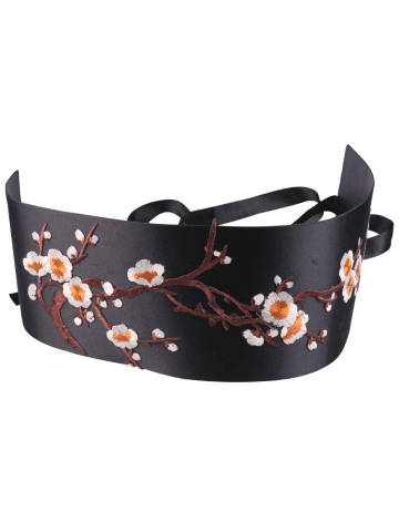 Discount Banded Flowers Branch Embroidered Chinoiserie Corset Belt - ORANGE  Mobile