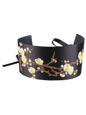 Discount Banded Flowers Branch Embroidered Chinoiserie Corset Belt - YELLOW  Mobile