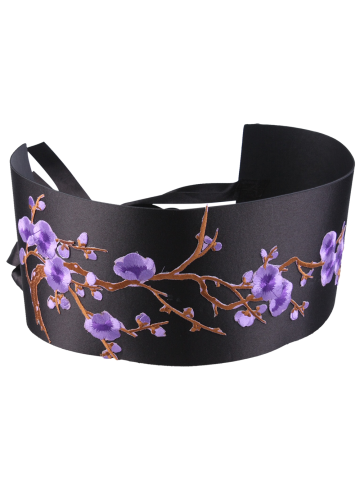 Unique Banded Flowers Branch Embroidered Chinoiserie Corset Belt - PURPLE  Mobile
