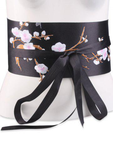 Best Banded Flowers Branch Embroidered Chinoiserie Corset Belt SHALLOW PINK
