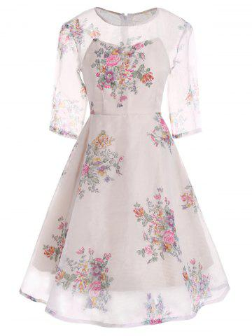 Trendy Semi Sheer Floral Print Flare Organza Dress