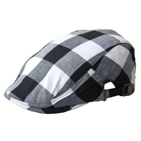 Store Plaid Multipurpose Layered Flat Hat - BLACK WHITE  Mobile