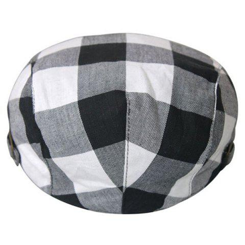 Buy Plaid Multipurpose Layered Flat Hat - BLACK WHITE  Mobile