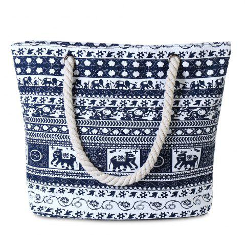 Tribal Print Canvas Shoulder Bag - Cadetblue