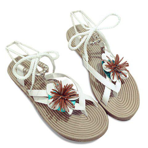 Flower Beads Tie Up Flat Sandals - White - 38