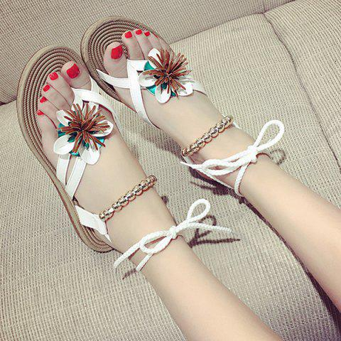 Online Flower Beads Tie Up Flat Sandals - 38 WHITE Mobile