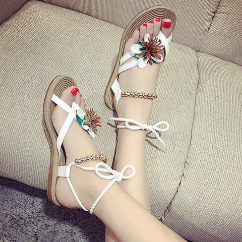 Latest Flower Beads Tie Up Flat Sandals - 38 WHITE Mobile