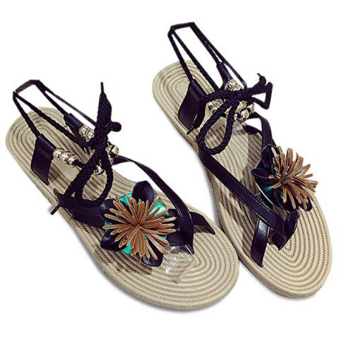 Flower Beads Tie Up Flat Sandals - Black - 38