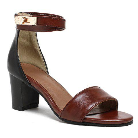 Outfit Mid Heel Colour Block Sandals BROWN 39